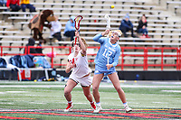 College Park, MD - February 24, 2019: Maryland Terrapins defender Meghan Doherty (6) and North Carolina Tar Heels Ally Mastroianni (12) fight for the faceoff during the game between North Carolina and Maryland at  Capital One Field at Maryland Stadium in College Park, MD.  (Photo by Elliott Brown/Media Images International)