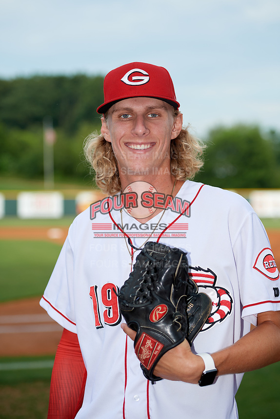 Greeneville Reds pitcher Johnnie Schneider (19) poses for a photo before a game against the Pulaski Yankees on July 27, 2018 at Pioneer Park in Tusculum, Tennessee.  Greeneville defeated Pulaski 3-2.  (Mike Janes/Four Seam Images)