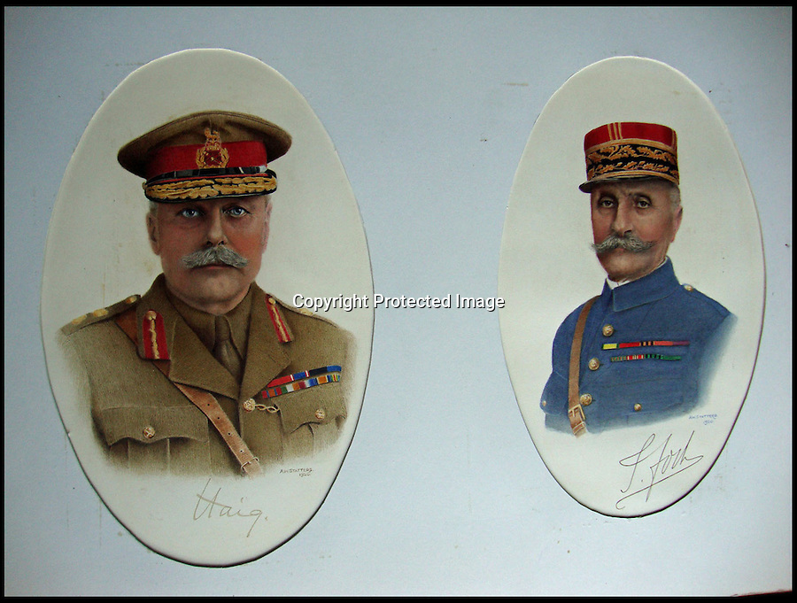 BNPS.co.uk (01202) 558833<br /> Picture: Alex Statters<br /> <br /> Field Marhsal Lord Haig and Field Marshal Fock - 1920<br /> <br /> A collection of portraits by an amateur artist who sent his paintings to famous subjects for them to sign has been unearthed. Self-taught Alex Statters spent nearly 40 years at his hobby, painting the great and important figures from photographs then trying to get them signed. The painter often had to wait as long as a year to get a reply. Statters was born in the early 1890s and after a working life in Newcastle settled in Southport, Merseyside. It is thought he died in the early 1960s. The collection has passed down through his family to his grandchildren who until recently were only aware of a few of the portraits that were hung in the family home.