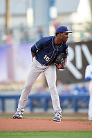 San Antonio Missions starting pitcher Enyel De Los Santos (10) looks in for the sign during a game against the Tulsa Drillers on June 1, 2017 at ONEOK Field in Tulsa, Oklahoma.  Tulsa defeated San Antonio 5-4 in eleven innings.  (Mike Janes/Four Seam Images)
