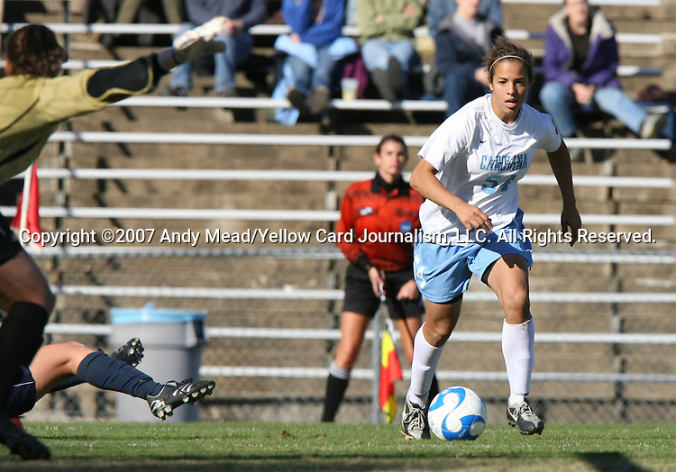 24 November 2007: North Carolina's Casey Nogueira. The University of Notre Dame Fighting Irish defeated University of North Carolina Tar Heels 3-2 at Fetzer Field in Chapel Hill, North Carolina in a Third Round NCAA Division I Womens Soccer Tournament game.
