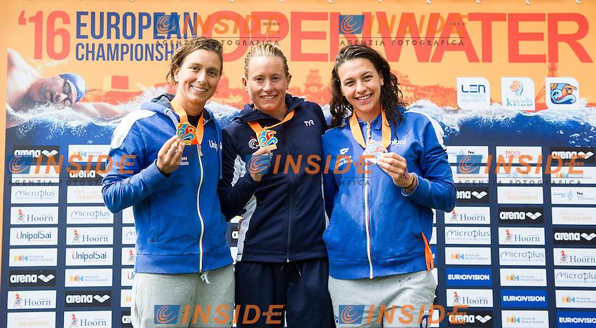 BRUNI Rachele ITA gold medal European Champion, MULLER Aurelie FRA Gold medal European Champion, BRIDI Arianna ITA bonze medal<br /> Hoorn, Netherlands <br /> LEN 2016 European Open Water Swimming Championships <br /> Open Water Swimming<br /> Women's 10km<br /> Day 01 10-07-2016<br /> Photo Giorgio Perottino/Deepbluemedia/Insidefoto