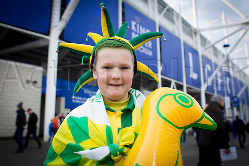 27.02.2016. King Power Stadium, Leicester, England. Barclays Premier League. Leicester City versus Norwich City. A young Norwich City fan pictured outside the King Power Stadium before kickoff.