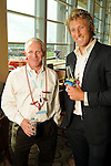 Robert Suomela and Blake Gordon at the Cinco de Mayo themed reception held by Siemens at the West Club in Reliant Stadium Wednesday May 2,2012. (Dave Rossman Photo)