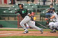 Dayton Dragons second baseman Jeter Downs (2) swings at pitch against the Burlington Bees at Community Field on May 3, 2018 in Burlington, Iowa.  (Dennis Hubbard/Four Seam Images)