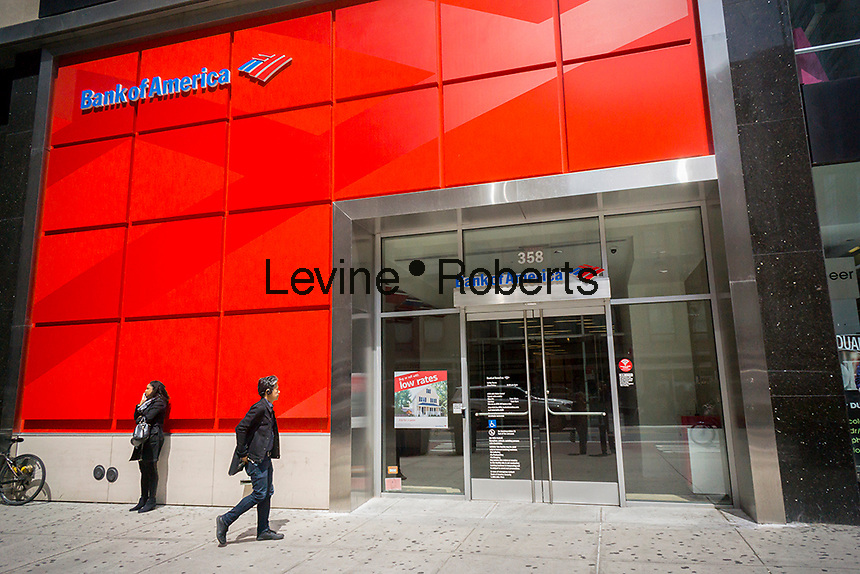 A branch of Bank of America in New York on Tuesday, April 26, 2016. Bank of America is to hold its annual shareholder meeting in Charlotte, NC and will vote on 13 board directors. (© Richard B. Levine)