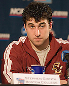Post practice press conference:  Stephen Gionta - The Boston College Eagles practiced on Wednesday, April 5, 2006, at the Bradley Center in Milwaukee, Wisconsin, in preparation for their 2006 Frozen Four Semi-Final game against the University of North Dakota.