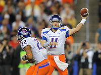 Jan. 4, 2010; Glendale, AZ, USA; Boise State Broncos quarterback (11) Kellen Moore throws a pass in the second quarter against the TCU Horned Frogs in the 2010 Fiesta Bowl at University of Phoenix Stadium. Mandatory Credit: Mark J. Rebilas-