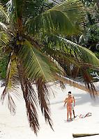 Seychelles, Island Mahe, Anse Forbans: couple, beach