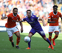 Portsmouth's Brandon Haunstrup and Blackpool's Liam Feeney<br /> <br /> Photographer Stephen White/CameraSport<br /> <br /> The EFL Sky Bet League One - Blackpool v Portsmouth - Saturday 31st August 2019 - Bloomfield Road - Blackpool<br /> <br /> World Copyright © 2019 CameraSport. All rights reserved. 43 Linden Ave. Countesthorpe. Leicester. England. LE8 5PG - Tel: +44 (0) 116 277 4147 - admin@camerasport.com - www.camerasport.com