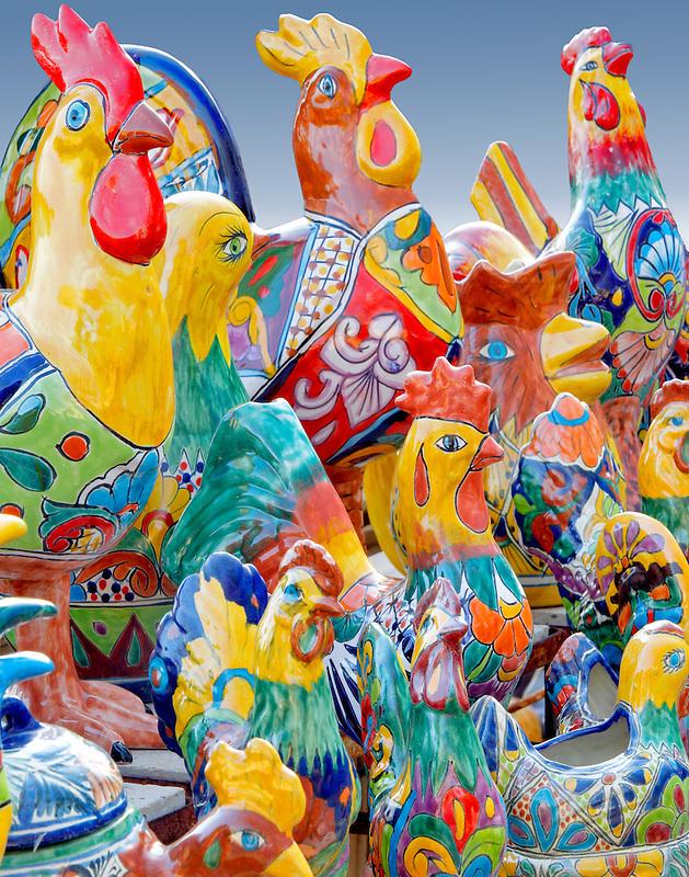 Colorful chichen pot display. Tubac. Arizona
