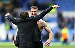 Gary Cahill of Chelsea celebrates with Antonio Conte manager of Chelsea after the English Premier League match at Goodison Park , Liverpool. Picture date: April 27th, 2016. Photo credit should read: Lynne Cameron/Sportimage