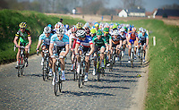 Dwars door Vlaanderen 2012.Team OmegaPharma-Quickstep in control, later winner Niki Terpstra in front