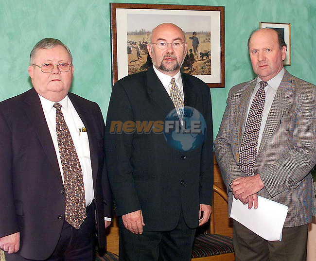 Micheal Bell and Ruari Quinn pictured with Liam Woods, IFA Carlingford and District Sheepbreeders Association at McKevitts Hotel in Carlingford...Picture  Newsfile.Supply Pic..This Picture is sent to you by:..Newsfile Ltd.The View, Millmount Abbey, Drogheda, Co Louth, Ireland..Tel: +353419871240.Fax: +353419871260.GSM: +353862500958.ISDN: +353419871010.email: pictures@newsfile.ie.www.newsfile.ie