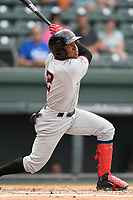 Second baseman Brallan Perez (2) of the Hickory Crawdads bats in a game against the Greenville Drive on Sunday, July 16, 2017, at Fluor Field at the West End in Greenville, South Carolina. Hickory won, 3-1. (Tom Priddy/Four Seam Images)