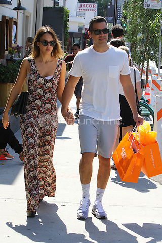 Beverly Hills CA: June 6 Jessica Alba and Husband Cash enjoying a day out and stopping to do some shopping at Bristol Farms in Beverly Hills on June 6 2015 Credit: John Misa / MediaPunch