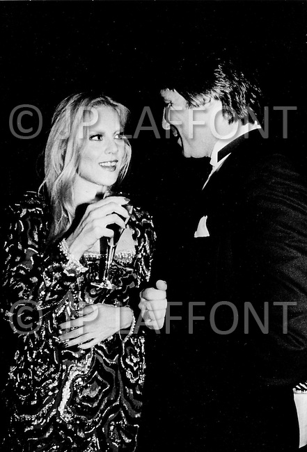 Las Vegas, Nevada, USA, December, 1982 - French Singer Sylvie Vartan at a party with her husband Tony Scotti in between performances at the MGM Hotel in Las Vegas.