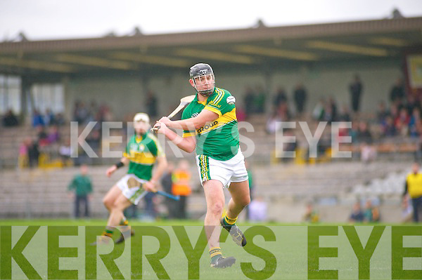 Aidan Boyle of Kerry takes a shot during last Sunday's NHL match against Westmeath at Cusack Park, Mullingar.