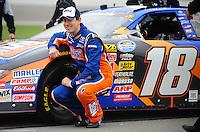 Oct. 3, 2009; Kansas City, KS, USA; NASCAR Nationwide Series driver Kyle Busch during qualifying for the Kansas Lottery 300 at Kansas Speedway. Mandatory Credit: Mark J. Rebilas-