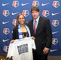 #6 overall pick Maya Hayes of Sky Blue FC stands with head coach Jim Gabarra during the NWSL draft at the Pennsylvania Convention Center in Philadelphia, PA, on January 17, 2014.