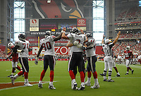 Aug 18, 2007; Glendale, AZ, USA; Houston Texans quarterback Matt Schaub (8) is congratulated by teammates after running for a first half touchdown against the Arizona Cardinals at University of Phoenix Stadium. Mandatory Credit: Mark J. Rebilas-US PRESSWIRE Copyright © 2007 Mark J. Rebilas