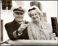 BNPS.co.uk (01202 558833)Pic: HAldridge/BNPS<br /> <br /> Treasure Jones with his wife Bella on the Queen Mary.<br /> <br /> The archive of one of Britains most famous mariners is sailing in to auction at HAldridge in Devizes in Wiltshire.<br /> <br /> Capt John Treasure Jones captained the Mauretania, and Queen Elizabeth before commanding the Queen Mary on her final Atlantic crossing in 1967.<br /> <br /> During WW2 he was torpedoed off Ireland before captaining a Sunflower class Corvette, he finished the war serving under Mountbatten in the Far East.