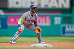 29 April 2017: New York Mets infielder Jose Reyes in action against the Washington Nationals at Nationals Park in Washington, DC. The Mets defeated the Nationals 5-3 to take the second game of their 3-game weekend series. Mandatory Credit: Ed Wolfstein Photo *** RAW (NEF) Image File Available ***