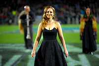 NZ national anthem singer Rebecca Wilson during the Rugby Championship match between the NZ All Blacks and Argentina Pumas at Yarrow Stadium in New Plymouth, New Zealand on Saturday, 9 September 2017. Photo: Dave Lintott / lintottphoto.co.nz