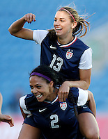 USA's Alex Morgan celebrates her goal against Germany with teammate Sydney Leroux  during their Algarve Women's Cup soccer match at Algarve stadium in Faro, March 13, 2013.  .