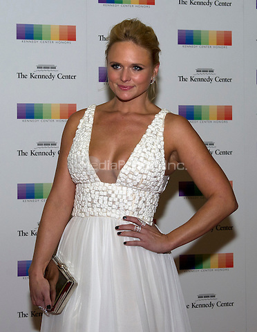 Miranda Lambert arrives for the formal Artist's Dinner honoring the recipients of the 38th Annual Kennedy Center Honors hosted by United States Secretary of State John F. Kerry at the U.S. Department of State in Washington, D.C. on Saturday, December 5, 2015. The 2015 honorees are: singer-songwriter Carole King, filmmaker George Lucas, actress and singer Rita Moreno, conductor Seiji Ozawa, and actress and Broadway star Cicely Tyson.<br /> Credit: Ron Sachs / Pool via CNP/MediaPunch