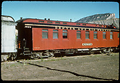 Red painted coach &quot;Nomad&quot; at Durango.<br /> D&amp;RGW  Durango, CO