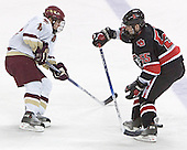 Collins got past Deeth and then put the puck past Geragosian - The Boston College Eagles defeated Northeastern University Huskies 5-3 on Saturday, November 19, 2005, at Kelley Rink in Conte Forum at Chestnut Hill, MA.