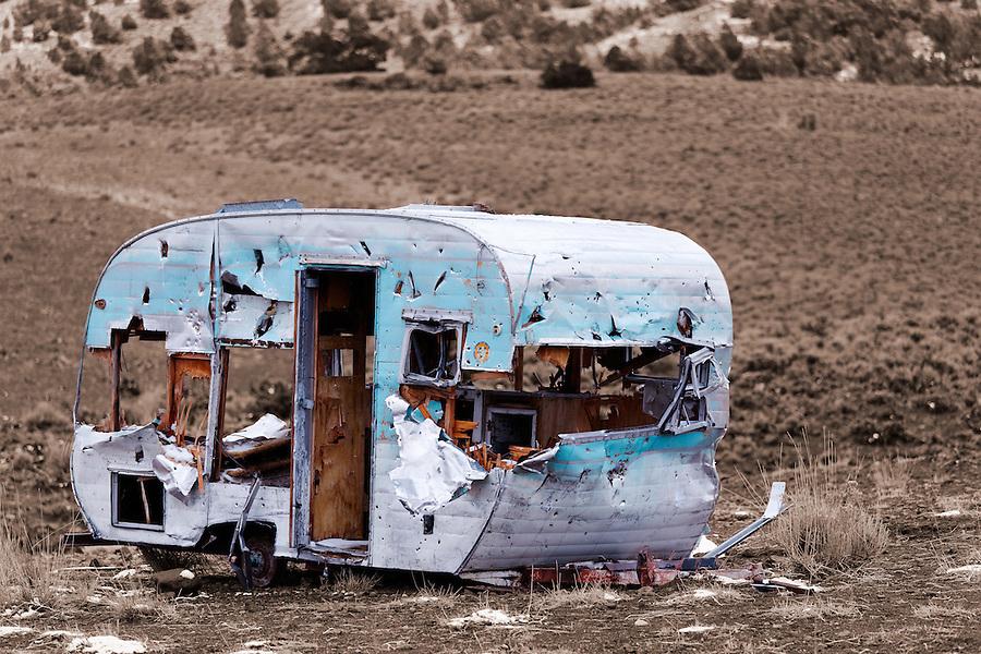 Shot up camping trailer