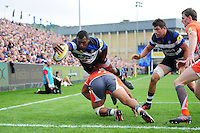 Semesa Rokoduguni of Bath Rugby reaches for the try-line. Aviva Premiership match, between Bath Rugby and Newcastle Falcons on September 10, 2016 at the Recreation Ground in Bath, England. Photo by: Patrick Khachfe / Onside Images