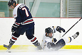 Colin South (RMU - 7), Mike Switzer (Bentley - 4) - The Bentley University Falcons defeated the visiting Robert Morris University Colonials 2-1 on Friday, January 6, 2012, at the John A. Ryan Skating Arena in Watertown, Massachusetts.