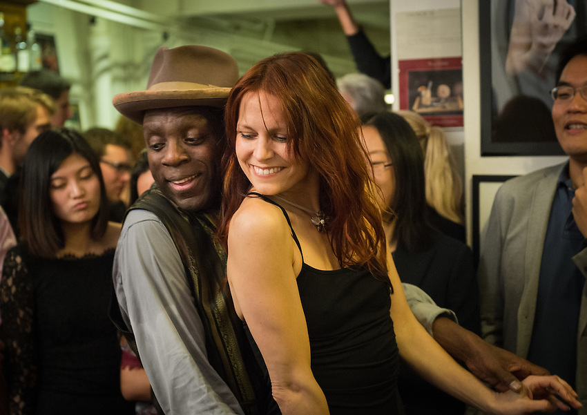 Philou (tap-dancer) and Mona Barocco (former dancer at the Crazy Horse) at a Paris Boogie Speakeasy soirée hosted by Yves Riquet at 256 Rue Marcadet for HEC with the Metropolitan Jazz Band and five young ex dancers from the Crazy Horse plus tap-dancer Philou. Friday 5th December 2014.