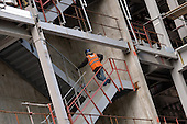 A construction worker on the site of a new office development by British Land PLC in the City of London.