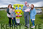 l-r  Clodagh O'Connor, Kian Hughes, Robert Kenny, Fiadh Kenny and Kathy Hughes with SpongeBob SquarePants at the Tralee Bay Wetlands Easter Family Fun Day on Monday