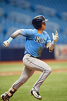 Roberto Alvarez (17) runs to first base during the Tampa Bay Rays Instructional League Intrasquad World Series game on October 3, 2018 at the Tropicana Field in St. Petersburg, Florida.  (Mike Janes/Four Seam Images)
