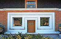 F.L. Wright: Winslow House, River Forest, 1893. Front doorway.  Photo '76.