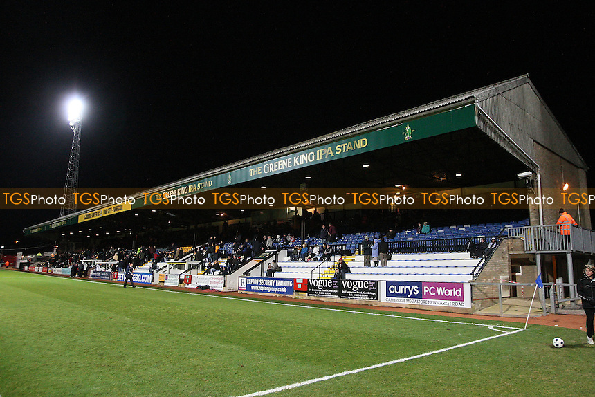 General view of the main stand at the Abbey Stadium - Cambridge United vs Southport - Blue Square Conference Football at the Abbey Stadium, Cambridge - 05/01/12 - MANDATORY CREDIT: Gavin Ellis/TGSPHOTO - Self billing applies where appropriate - 0845 094 6026 - contact@tgsphoto.co.uk - NO UNPAID USE.