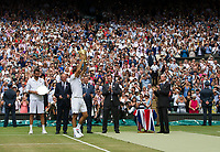 Roger Federer (3) of Switzerland celebrates with the Trophy after his victory against Marin Cilic (7) of Croatia in their Gentlemen's Singles Final - Federer def Cilic 6-3, 6-1, 6-4<br /> <br /> Photographer Ashley Western/CameraSport<br /> <br /> Wimbledon Lawn Tennis Championships - Day 13 - Sunday 16th July 2017 -  All England Lawn Tennis and Croquet Club - Wimbledon - London - England<br /> <br /> World Copyright &not;&copy; 2017 CameraSport. All rights reserved. 43 Linden Ave. Countesthorpe. Leicester. England. LE8 5PG - Tel: +44 (0) 116 277 4147 - admin@camerasport.com - www.camerasport.com