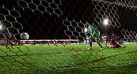 Blackpool's Max Clayton scores his side's second goal <br /> <br /> Photographer Alex Dodd/CameraSport<br /> <br /> EFL Checkatrade Trophy - Northern Section Group B - Accrington Stanley v Blackpool - Tuesday 3rd October 2017 - Crown Ground - Accrington<br />  <br /> World Copyright &copy; 2018 CameraSport. All rights reserved. 43 Linden Ave. Countesthorpe. Leicester. England. LE8 5PG - Tel: +44 (0) 116 277 4147 - admin@camerasport.com - www.camerasport.com