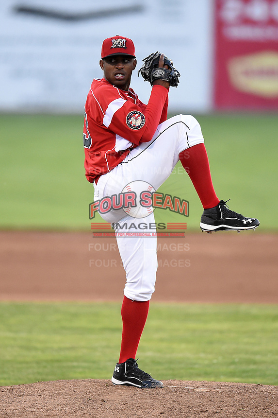 Batavia Muckdogs pitcher Alexander Carreras (43) delivers a pitch during a game against the Auburn Doubledays on June 14, 2014 at Dwyer Stadium in Batavia, New York.  Batavia defeated Auburn 7-2.  (Mike Janes/Four Seam Images)