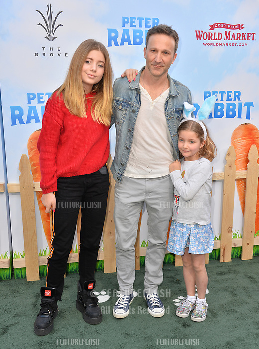 Breckin Meyer, Clover Meyer &amp; Caitlin Willow Meyer at the world premiere for &quot;Peter Rabbit&quot; at The Grove, Los Angeles, USA 03 Feb. 2018<br /> Picture: Paul Smith/Featureflash/SilverHub 0208 004 5359 sales@silverhubmedia.com