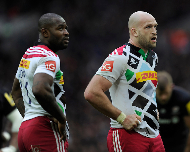 George Robson (R) and Ugo Monye of Harlequins look dejected after losing the match