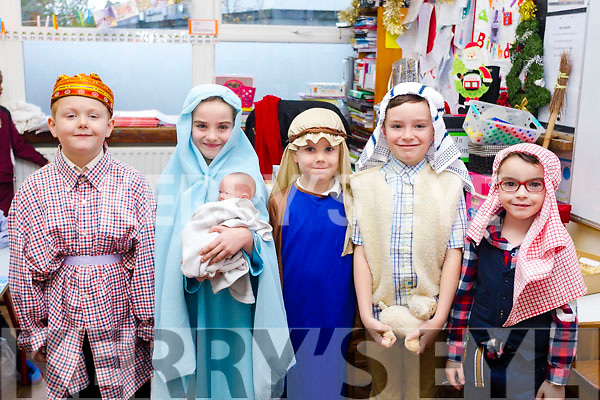 """Infants from Moyderwell school getting ready for their """"Children of the World"""" Christmas  play on Wednesday morning. L-r Aaron Mcelligott, Alannah Boyle, Martin, Darragh O'Connor and Blake Bowler."""