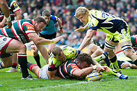 George McGuigan of Leicester Tigers scores a try in the second half. Aviva Premiership match, between Leicester Tigers and Sale Sharks on April 29, 2017 at Welford Road in Leicester, England. Photo by: Patrick Khachfe / JMP