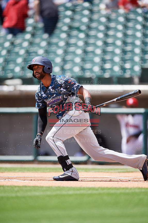 Jacksonville Jumbo Shrimp right fielder Isaac Galloway (3) follows through on a swing during a game against the Birmingham Barons on April 24, 2017 at Regions Field in Birmingham, Alabama.  Jacksonville defeated Birmingham 4-1.  (Mike Janes/Four Seam Images)