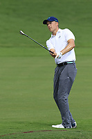 Jordan Spieth (USA) chips onto the 18th green during Saturday's Round 3 of the 2017 PGA Championship held at Quail Hollow Golf Club, Charlotte, North Carolina, USA. 12th August 2017.<br /> Picture: Eoin Clarke | Golffile<br /> <br /> <br /> All photos usage must carry mandatory copyright credit (&copy; Golffile | Eoin Clarke)